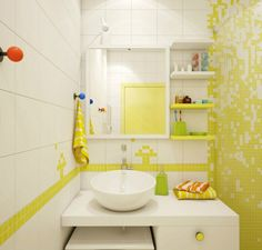 mosaique murale en pâte de verre bicolore, meuble sous vasque blanc neige et miroir rectangulaire