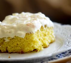 """Sunshine Cake (""""skinny-fy"""" by making cake with diet soda and use sugar-free pudding mix, sugar-free/fat-free whipped topping for frosting)"""