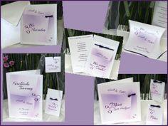 Lila-weiße Hochzeitskarten und Deko