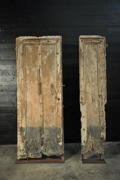 wooden doors fragment with metal support  17th