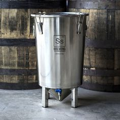 """SS Brewing Tech ~The Brew Bucket 7 Gallon Stainless Steel Conical Fermenter Beer. From the offering description: """"Kick the porous plastic buckets and get serious and professional with your h… Moonshine Still, Make Beer At Home, How To Make Beer, Kombucha Fermentation, Make Your Own Kombucha, Distilling Alcohol, Beer Brewing Kits, Home Brewing Equipment, Wine Brands"""