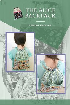 The Alice Backpack sewing pattern. This beginner sewing pattern is great for little trips to the gym, park, or afternoon out. The pattern comes in three sizes which make it perfect for little kids, big kids, and you. With regards to fabric, one print makes up the body of the bag, and then you can use a favorite feature print for the pocket and drawstring sleeve. The zipper pocket keeps your belongings secure and has a divided pocket behind it. Beginner Sewing Patterns, Sewing Patterns For Kids, Bag Patterns To Sew, Sewing For Beginners, Sewing For Kids, Sewing Ideas, Back To School Bags, Backpack Pattern, Modern Kids