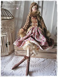 Tilda doll Miss Meghan in coat Textile Handmade Tilda doll