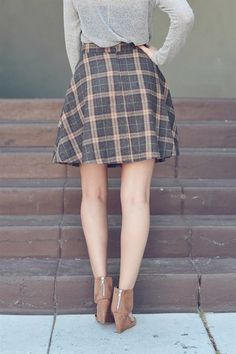 Plaid Out Skirt- Adding some tights and high boots will take this right into fall. Loving the plaid and the cut. #skirts #avadycc