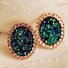$4.07 Pair of Sweet Diamante Mix-Color Oval Stud Earrings For Women