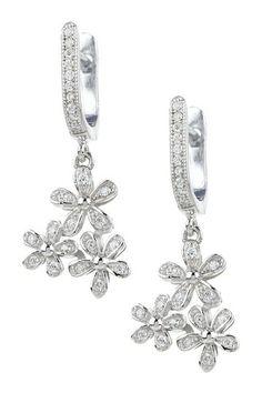 Sterling Silver Tri Flower CZ Earrings by Adam Marc on @HauteLook