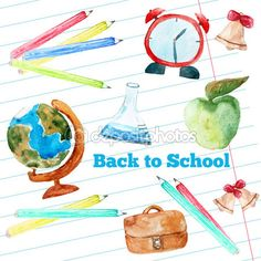 Vector watercolor back to school poster with supplies -  alarm clock, pencils, globe on notebook paper background. — Ilustração de Stock #78516978