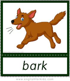 English for Kids Step by Step: Printable Flashcards: Animal Sounds. Part 1. Flashcards For Kids, Printable Flashcards, Printables, Teach English To Kids, Teaching English, Reading Passages, Reading Comprehension, School Border, Dog Sounds