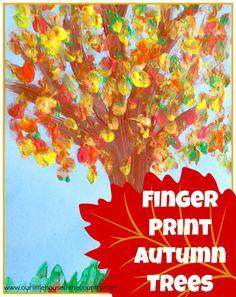 Finger Print Autumn Trees - Fall Art Activities for Kids