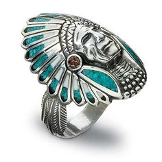 Indian Head Silver & Turquoise Ring