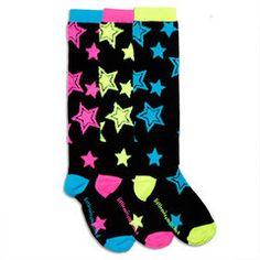 Punk Stars Fuzzy Knee High Socks #funkysocks #Littlemissmatched