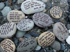 Memorial stones.  Scripture rocks.  Write great things the LORD has done on rocks and keep in a basket in our entryway.