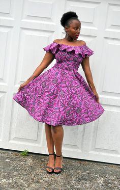 BALMA purple dress in a bold floral print African Inspired Fashion, Latest African Fashion Dresses, African Print Dresses, African Print Fashion, African Dress, Ankara Fashion, African Attire, African Wear, African Women
