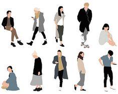 Ink Illustrations, Flat Illustration, Persona Vector, Adobe Illustrator, Human Vector, People Cutout, Human Figure Drawing, Architecture People, Adobe Photoshop
