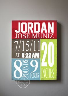 Birth Announcement  Baby Room Decor  Canvas Print 10 by MuralMAX, $51.00