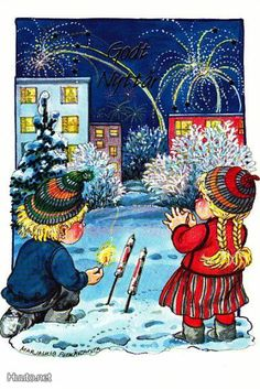 . Gnomes, Elves, Happy New Year, Illustrators, Scandinavian, Christmas Cards, January, Santa, Printed