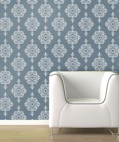 Take a look at this Blue Fog Diamond Damask Wallpaper Decal by Swag Paper on #zulily today!