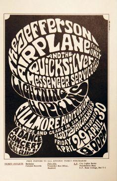 (BG 4) 1966 Jefferson Airplane / Quicksilver Messenger Service / Lightning Hopkins at Fillmore Auditorium. Art by Wes Wilson.