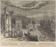 Egbert van Panderen   Allegorie op de nacht met personificatie van Nox (de nacht), Egbert van Panderen, Tobias Verhaecht, Theodoor Galle, c. 1590 - 1637   Stadsgezicht bij nacht met personificatie van Nox. Op de voorgrond feestende figuren bij de ruïne van een tempel. In de marge een zesregelig onderschrift, in drie kolommen, in het Latijn. Vierde prent uit een serie met de vier dagdelen.