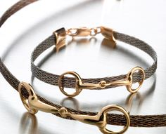 This bracelet is made from horsehair that you ship to the artist, so it's made from your own horse's hair. Amazing.