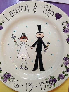 Custom Wedding Platter by Out On A Whim - Paint Your Own Pottery Studio