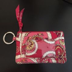 Vera Bradley Coin & ID Holder with Key Ring Red & Pink Colors Vera Bradley Accessories Key & Card Holders