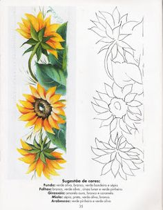 Sunflower Art, Sunflower Pattern, Pencil Art Drawings, Easy Drawings, Coloring Book Art, Coloring Pages, Painting Patterns, Fabric Painting, Free Adult Coloring