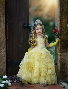 Yellow Flower Girl Dresses Jewel Ruffles Petaline Girls Evening Party Communion Prom Dress Kid Pageant Gowns Custom Made Flower Girls, Yellow Flower Girl Dresses, Tulle Flower Girl, Little Girl Dresses, Plus Size Robes, Plus Size Dresses, The Dress, Baby Dress, Dollcake Dresses