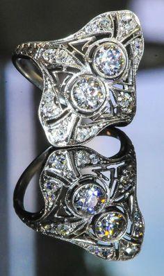 Antique Art Deco Old European Cut Old Mine Cut Diamond Platinum Ring HD VIDEO in Rings | eBay