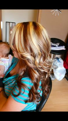 Love the layers and the chunky highlights. I would rather have mine in brown and blonde though. So pretty!