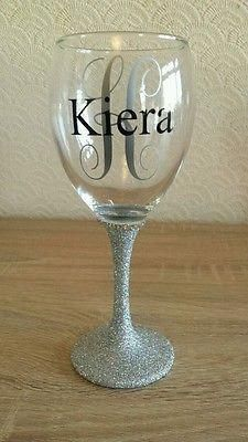 Personalised Glitter wine glass great for birthdays