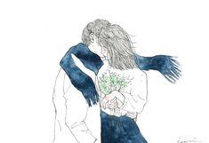 冬の距離感 . #art #artwork #illustration #illust #drawing #watercolor #girl #flower #couple #watercolorpainting #イラスト #水彩 #水彩イラスト #カップルイラスト
