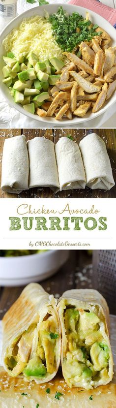 Easy Chicken Avocado Burritos on omgchocolatedesserts.com/ -- You can even make them in advance!