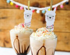 Cute & colorful llama party ideas you'll love including a llama piñata, party printables, invitations, cake, clipart & more to inspire your llama party. Diy Party Games, Party Ideas, Ideas Cumpleaños, Llama Birthday, 10th Birthday, Birthday Parties, Milkshake Recipes, Milkshakes, Cupcake Toppers Free