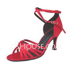 Chaussures de danse - $28.99 - Femmes Satin Talons Sandales Latin avec Lanière de cheville Chaussures de danse (053013169) http://jjshouse.com/fr/Femmes-Satin-Talons-Sandales-Latin-Avec-Laniere-De-Cheville-Chaussures-De-Danse-053013169-g13169