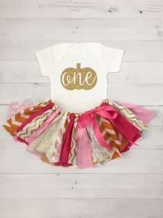Pink, Orange and Gold Fall Themed First Birthday Outfit/Fabric Tutu/Baby…