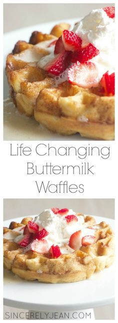 Life Changing Buttermilk Waffles - Sincerely Jean ~ these were genuinely very good, will make again for sure! Breakfast Waffles, What's For Breakfast, Breakfast Items, Breakfast Dishes, Mexican Breakfast, Breakfast Sandwiches, Pancakes And Waffles, Vegan Breakfast, Buttermilk Waffles