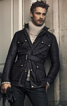 I don't know just looks cool! Sharp Dressed Man, Well Dressed Men, Looks Style, Looks Cool, Waxed Cotton Jacket, Moda Formal, Men Street, Gentleman Style, Autumn Winter Fashion