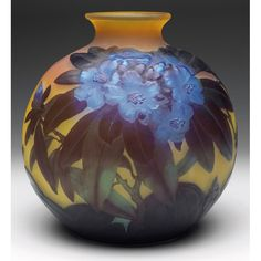 "E.GALLE___Fine vase, large round shape in yellow glass with a brilliant blown-out """" blue Azalea """"design, cameo signature, 10""w x 10""h, an exceptional piece of Galle"