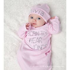 Born To Wear Diamonds Bling Layette Set -- Baby Bling Things Boutique Online Store