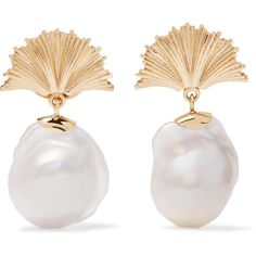 Meadowlark Meadowlark - Vita 9-karat Gold Freshwater Pearl Earrings -... (4,370 SAR) ❤ liked on Polyvore featuring jewelry, earrings, gold anchor jewelry, yellow gold earrings, meadowlark jewelry, yellow gold jewelry and gold jewellery