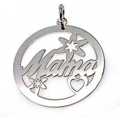 Colgante de plata de primera ley liso redondo de 3,5 cm de diámetro con la palabra Mama, flores y un corazón calados