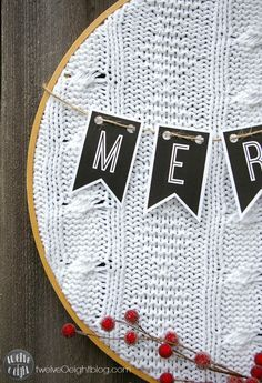 Such a cute idea - Sweater Hoop Art Christmas sign. Looks easy to make and cute to hang with your holiday decor. Noel Christmas, Christmas Signs, Christmas Projects, Holiday Crafts, Christmas Wreaths, Christmas Decorations, Christmas Ornaments, Holiday Decor, Embroidery Hoop Decor