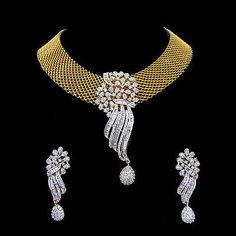 Indian CZ AD Gold & Silver Colored Bollywood Pendant Ethnic Swam Jewelry Set 252 in Jewellery & Watches, Ethnic & Tribal Jewellery, Asian | eBay!