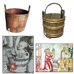 1:Daubeneimer,Freiburg,2:Eimerfund, Castell y Bere,3:Kupferstich 1470,4:Federzeichnung, 1330-40