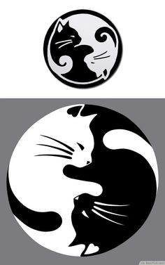 Yin Yang lucky cat tattoo - this would be nice with a watercolor wash instead of black #CatTattoo