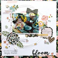 layout for Simple Stories using the Spring Farmhouse collection Christmas Scrapbook Layouts, Scrapbook Designs, Scrapbooking Layouts, Scrapbook Cards, Simple Stories, Happy March, Relaxing Colors, Image Layout, Small Flowers