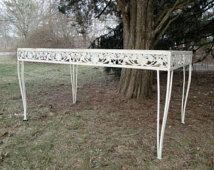 Vintage aluminum and iron floral dining table  ***READ LISTING BEFORE purchasing***