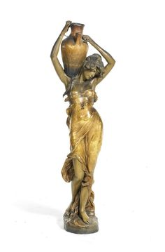 Haniroff for Goldscheider | 'The Water Carrier' a Large Patinated Terracotta Female Study, circa 1890