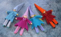 Set of four felt fairies (to go with the gnomes, of course!)